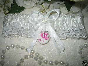 HELLO KITTY Garter Wedding Bridal Garters WHITE PINK