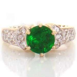 10K Yellow Gold Emerald Green CZ With White CZ Accents