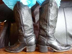 VINTAGE BRAHMA BLK LEATHER WOMENS COWBOY BOOTS   7 1/2