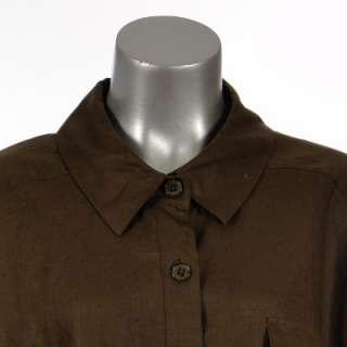 Sutton Studio Womens Button Linen Big Shirt Top Blouse