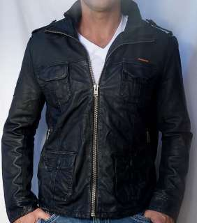 Superdry BRAD Mens Leather Motorcycle Jacket   Beckham   NEW Black