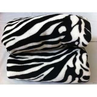 Queen blanket Super Soft White Black Zebra animal Print Microfiber