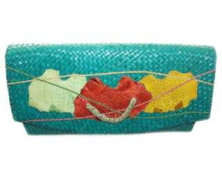 Vintage EXOTIC SKIN Purse Clutch RAFFIA Bag 14 Frogskin Lizard SUPER