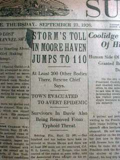 1926 newspapers THE GREAT MIAMI HURRICANE Florida disaster headline