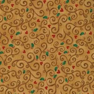 GINGER DELIGHTS HOLLY HEARTS BRN~ Cotton Quilt Fabric