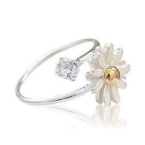 Sunflower Daisy Flower Rhinestone opening Ring