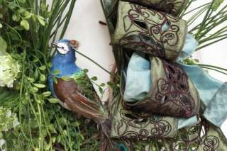 SPRING SUMMER DOOR WREATH Mothers Day VALENTINES PEACOCK GREEN GRASS