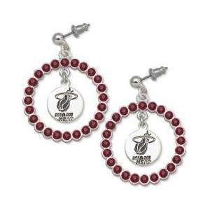 NBA Officially Licensed Miami Heat Earrings   Red Crystals & Team Logo