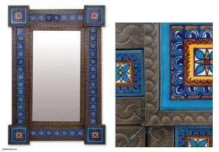 EMBOSSED TIN & CERAMIC WALL MIRROR Retro Vintage Style 38x26