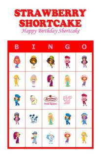 Strawberry Shortcake Birthday Party Game Bingo Cards