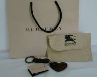 New Burberry Berry Red Burgundy Patent Leather Heart Keychain Key Fob