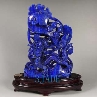 Genuine Lapis Lazuli Gemstone Dragon Statue / Sculpture / Carving