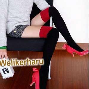 WOMENS BLACK RED KNIT THIGH KNEE HIGH SOCKS LEGGING
