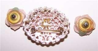 Vintage Pin Brooch Earring Set Ceramic Pink Roses