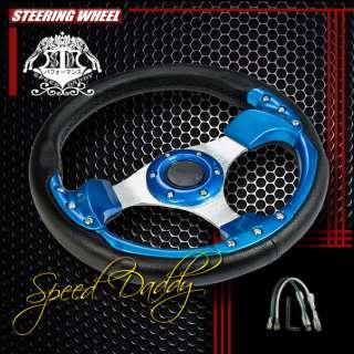 PVC LEATHER ALUMINUM 32CM RACING STEERING WHEEL BLACK/BLUE DISH/DECOR