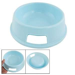 Dog Pet Baby Blue Plastic Round Bowl Food Feeder Dish Pet Supplies