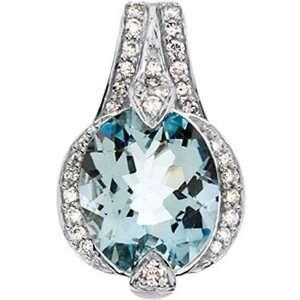 Aquamarine & Diamond Pendant 14K White Gold   Oval Cut