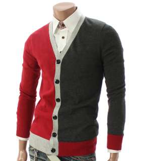 Youstars Mens Casual V neck Cardigan Sweater RED(019Z