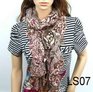 leopard girl scarf lace womens carves shawl wrap stole LSH1 7