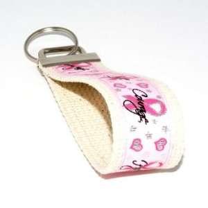 Pink Breast Cancer Awareness 6   Bone   Keychain Key Fob