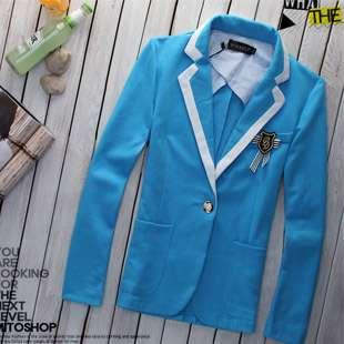 Mens Catwalk Fashion One Button Coat Blazer Dark Blue/Blue/Light Gray