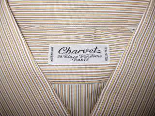 450 CHARVET PARIS PEACH/BROWN/WHITE STRIPE DRESS SHIRT FRENCH CUFF 16