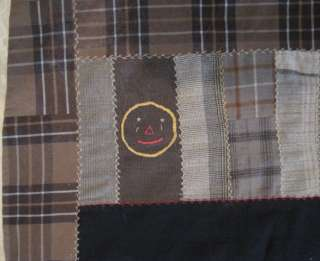 Art Mourning Quilt w Embroidered Christian Symbols & Face w Tears Wool