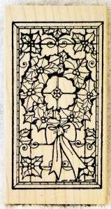 Northwoods Rubber Stamp Christmas Stained Glass Wreath