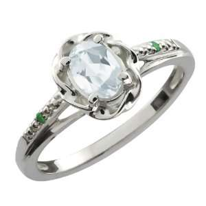 Ct Oval Sky Blue Aquamarine Green Diamond 18K White Gold Ring Jewelry