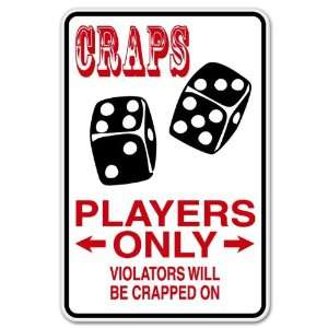 Craps Players Parking ONLY sign sticker funny 4 x 6
