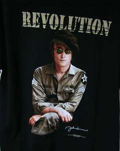 John Lennon Revolution Black T Shirt New