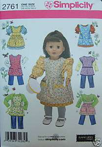 2761 American Girl 18 DOLL CLOTHES PATTERNS Apron +6 Outfit Wardrobe