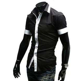 Mens Classic Fashion Hit Color Slim Shirt Korean Shirt 1200 3Color
