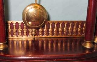 Pillar Pendulum Clock c.1900 brass pillars detail