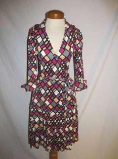 DVF Diane Von Furstenberg Heavy Silk Knit Wrap Dress SM