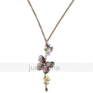Butterfly with Colorful Flower Pendant Long Chain Necklace