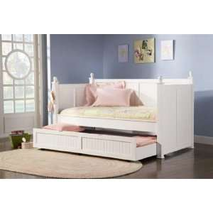 Trundle Bed In Glossy White Finish  Home & Kitchen