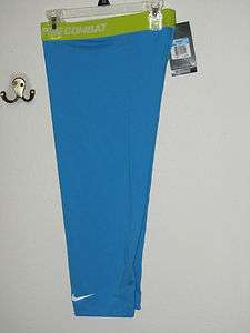 NWT$35 NIKE WOMENS PRO COMBAT BASE LAYER COMPRESSION CAPRI TIGHTS BLUE