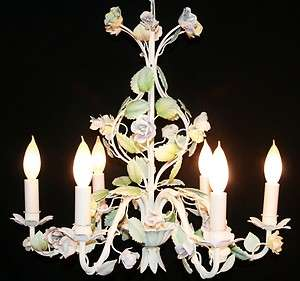 HIGHLY DECORATIVE Italian Vintage Floral Shabby Chic Flower Chandelier