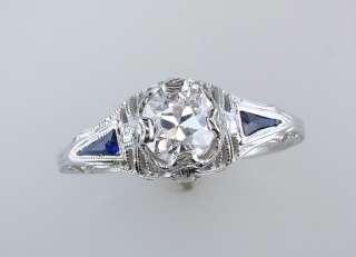 Antique Art Deco 1ct Diamond Sapphire 18K White Gold Engagement Ring