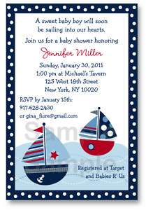 Sail Away Sailboat Boys Baby Shower Invitation Digital