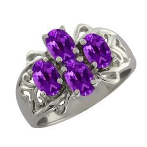 1.80 Ct Oval Purple Amethyst 18k White Gold Ring Jewelry