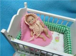 Ooak Mini Clay Baby Girl Art Doll Newborn Sculpt Awake Poseable