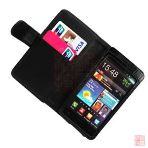 Black Croco Folio Wallet Leather Case Cover For Samsung Galaxy S2 II