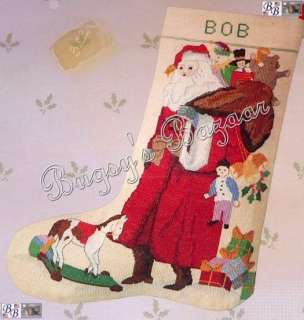 ANTIQUE SANTA ,Toys Counted Cross Stitch Christmas Stocking Kit