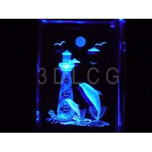 com Dolphins with Lighthouse 3D Laser Etched Crystal Everything Else