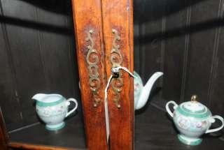 Farmhouse Cherry Wood Corner Cabinet Display Bookcase