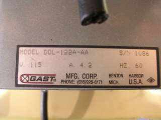 Gast Oil Less Vacuum Pump DOL 122A AA