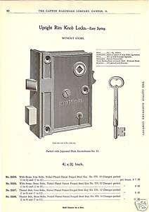 SARGENT RIM LOCK KEY HARDWARE ANTIQUE 1896 CATALOG AD