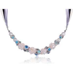 Sapphire Blue Opal Swarovski Crystal Rhinestone Pearl Bead